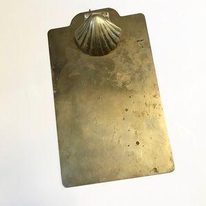 Vintage Brass Metal Shell Clipboard Mid-Century
